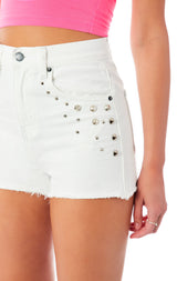 ALICE SPIKE STUD DENIM SHORT