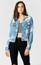 Carmar Denim: GEORGIA DISTRESSED DENIM JACKET - DENIM JACKETS