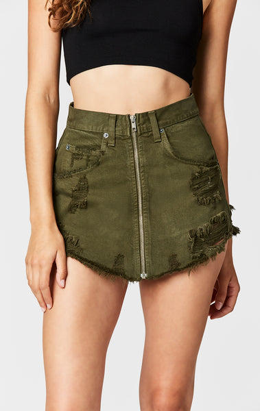 OLIVE BEATRICE ZIP FRONT SKIRT