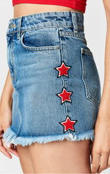 Carmar Denim: COLIN SKIRT WITH RED STAR PATCHES - SKIRTS