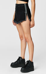 Carmar Denim: BLACK BEATRICE ZIP FRONT SKIRT WITH REFLECTIVE SIDE ZIPPER - DENIM SKIRT