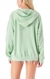 RIPPED ZIP UP SWEATSHIRT