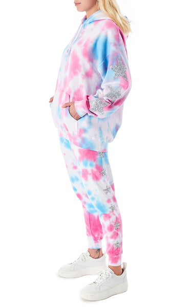 SPLOTCH TIE DYE STAR PATCH HOODIE