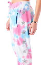 SPLOTCH TIE DYE STAR PATCH SWEATPANTS