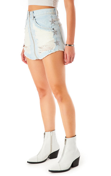 BEATRICE KENDRA STAR PATCH DENIM SKIRT