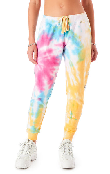 FIREWORK TIE DYE STAR PATCH SWEATPANTS