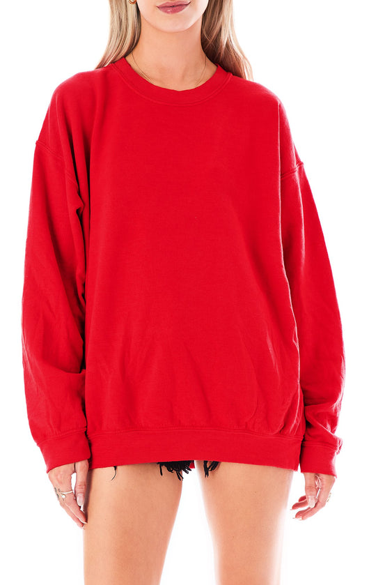 RED CREW NECK SWEATSHIRT