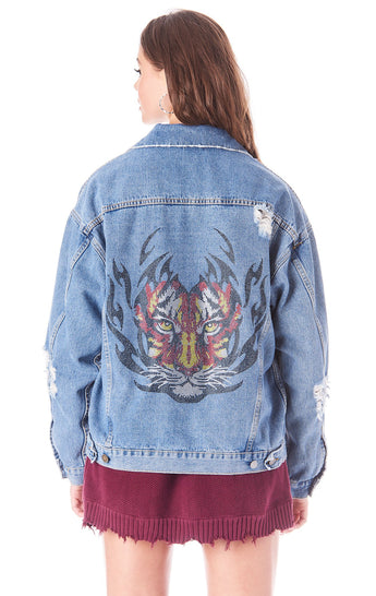 AUDREY RHINESTONE TIGER DENIM JACKET