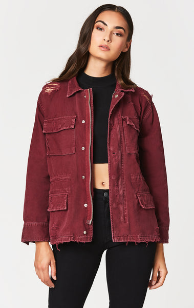 Carmar Denim: BURGUNDY ZIP CARGO UTILITY JACKET - JACKETS