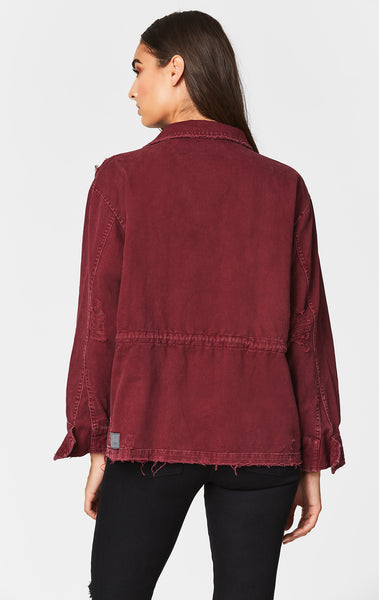 BURGUNDY ZIP CARGO UTILITY JACKET