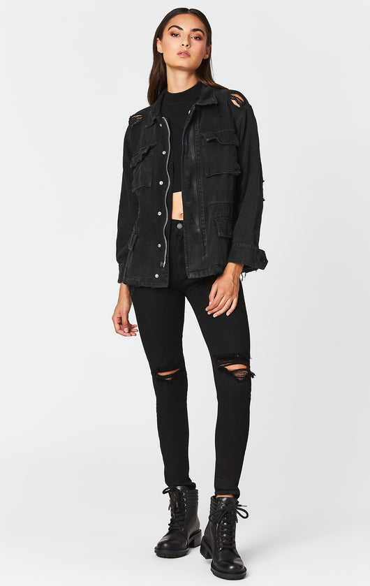 Carmar Denim: BLACK ZIP CARGO UTILITY JACKET -