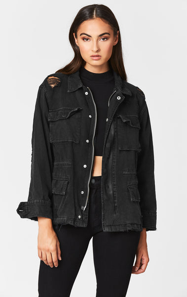 BLACK ZIP CARGO UTILITY JACKET