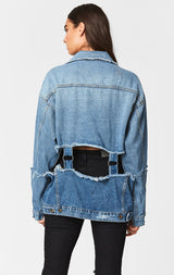 Carmar Denim: AKAMAR AUDREY CUT OUT JACKET WITH RINGS - DENIM JACKETS