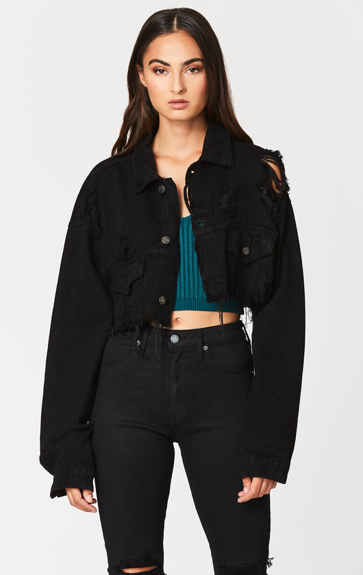 Carmar Denim: BLACK NICHOLAS OVERSIZED CROPPED DENIM JACKET - JACKETS