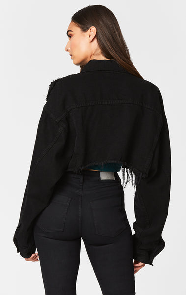 BLACK NICHOLAS CROPPED DENIM JACKET