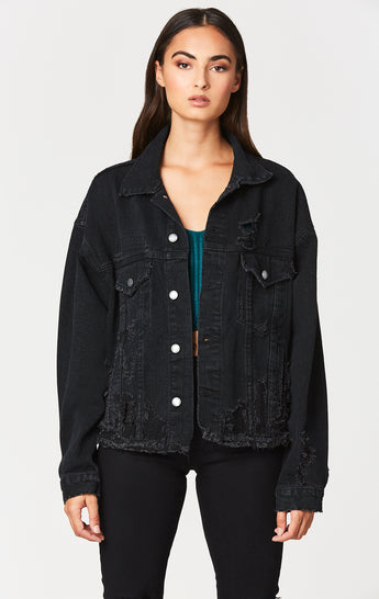 Carmar Denim: BLACK AUDREY OVERSIZED DENIM JACKET - DENIM JACKETS