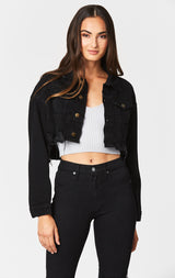 Carmar Denim: BLACK OLIVIER CROPPED DENIM JACKET - DENIM JACKET