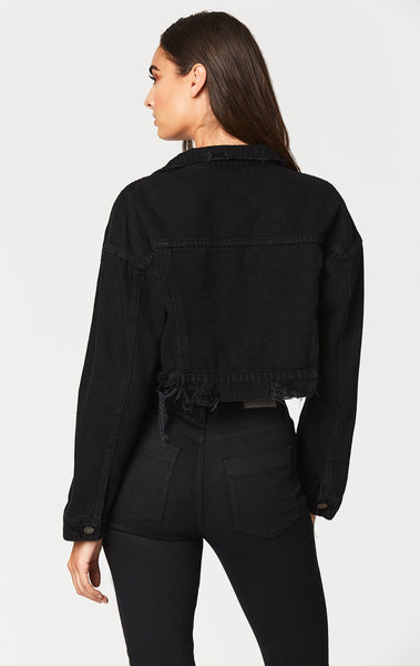 BLACK OLIVIER CROPPED DENIM JACKET