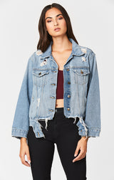 Carmar Denim: ANTARUS GRIFFITH RIPPED WAISTBAND DENIM JACKET - DENIM JACKET
