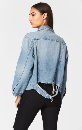 ANTARUS GRIFFITH RIPPED WAISTBAND DENIM JACKET