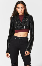 Carmar Denim: ULTRA CROP LEATHER JACKET - JACKETS