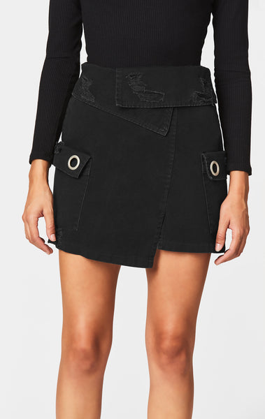 FOLDOVER WAISTBAND CARGO POCKET SKIRT