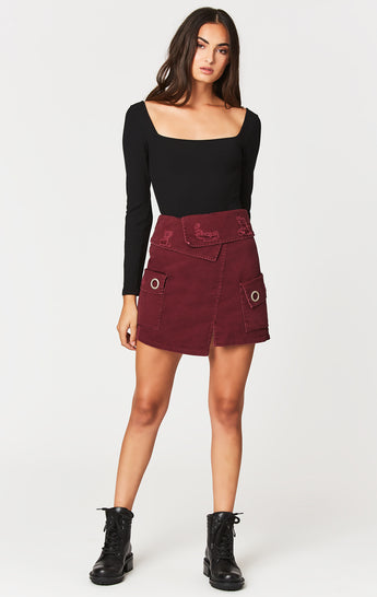 Carmar Denim: FOLDOVER WAISTBAND CARGO POCKET SKIRT - SKIRTS