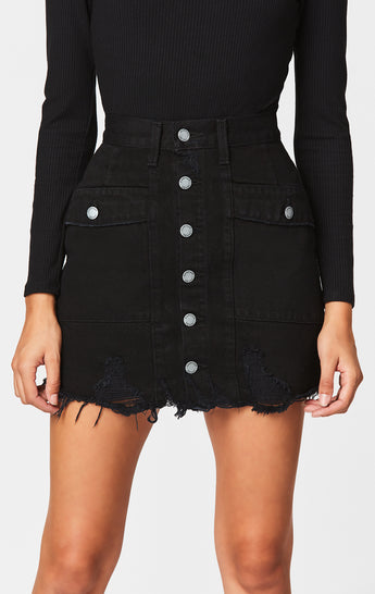 BLACK LINCOLN BUTTON FRONT SKIRT