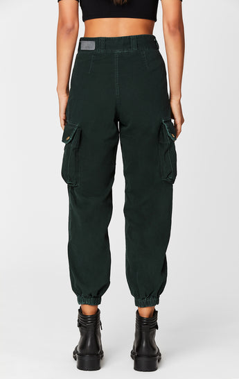 BOTTLE GREEN BAGGY GRINDED CARGO PANT