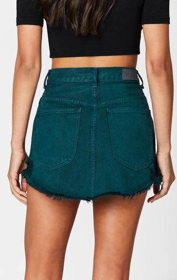 BOTTLE GREEN BEATRICE ZIP FRONT SKIRT