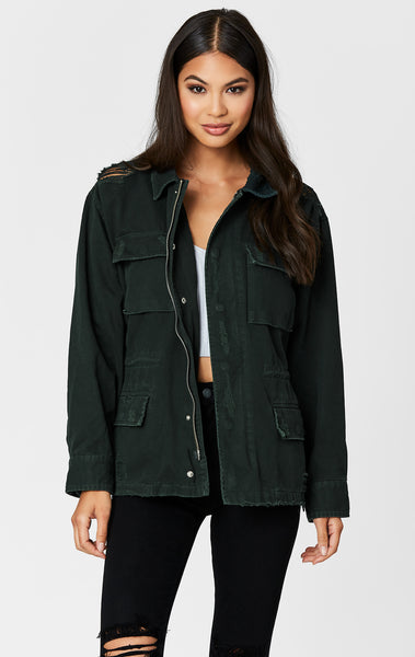 Carmar Denim: BOTTLE GREEN ZIP CARGO UTILITY JACKET - JACKETS
