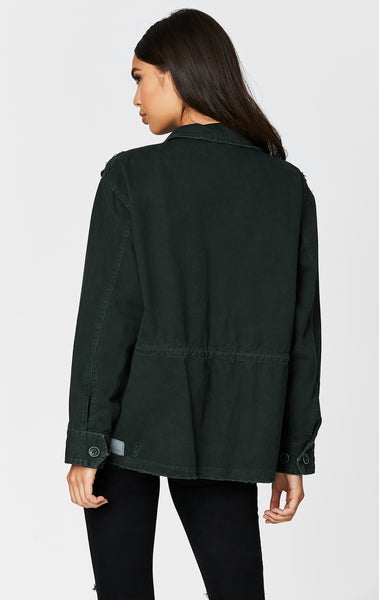 BOTTLE GREEN ZIP CARGO UTILITY JACKET