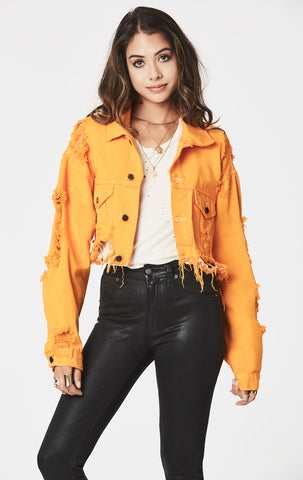 MARIGOLD CROPPED OVERSIZED DENIM JACKET