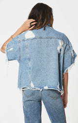 Carmar Denim: KURA AUDREY OVERSIZED DENIM JACKET - JACKETS