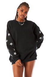 SILVER STAR PATCH CLUSTER PULLOVER SWEATSHIRT