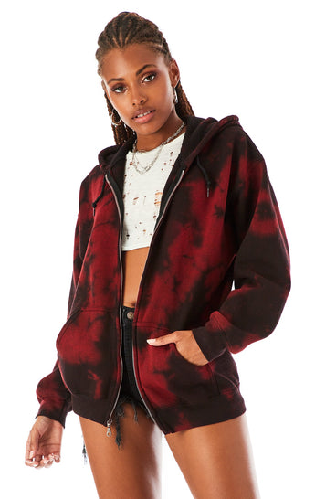 BLOTCH DYE ZIP UP SWEATSHIRT