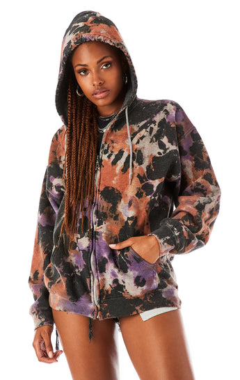 SMOKE TIE DYE ZIP UP SWEATSHIRT