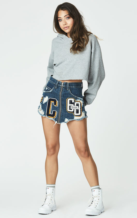 MULTI VARSITY PATCH BEATRICE ZIP FRONT SKIRT