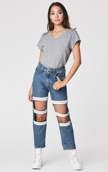 CUT OUT 3 ZIPPER KNEE HERMIA JEAN