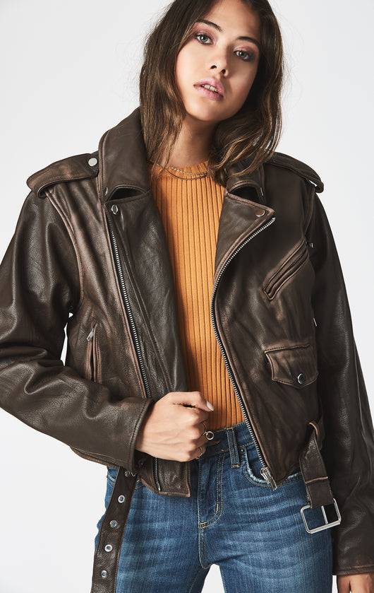 Carmar Denim: CROP LEATHER BIKER JACKET WITH BACK SIDE TIES - JACKETS