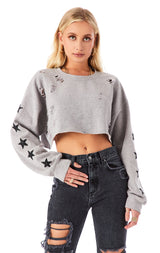 CROPPED BLACK STAR PATCH RIPPED SWEATSHIRT