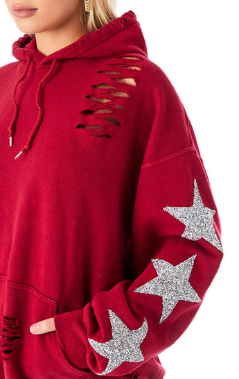 OVERSIZED SILVER STAR PATCH RIPPED HOODIE