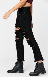 Carmar Denim: BLACK EMELIA HARNESS TRIM JEAN - JEANS