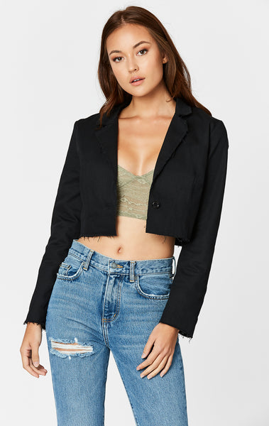 CROPPED RAW HEM JACKET
