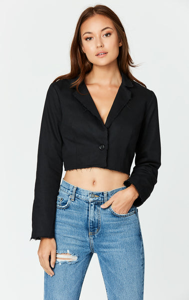 Carmar Denim: CROPPED RAW HEM JACKET - JACKETS