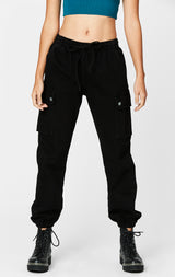 Carmar Denim: BLACK CARGO POCKET DENIM JOGGER - JEANS