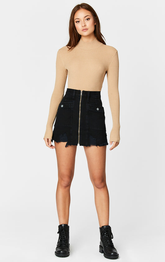 Carmar Denim: BLACK LINCOLN ZIP FRONT CARGO SKIRT - SKIRTS