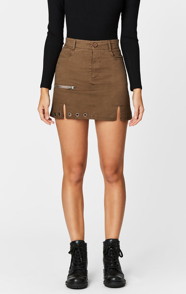 EYELET HORIZONTAL ZIP SKIRT