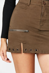 Carmar Denim: EYELET HORIZONTAL ZIP SKIRT - IMPORT SKIRTS