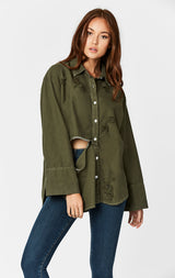 Carmar Denim: DISTRESSED FRONT SLIT SHIRT WITH GRINDING - WOVEN TOP